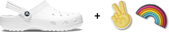 Crocs Classic Clog in White with Jibbitz.