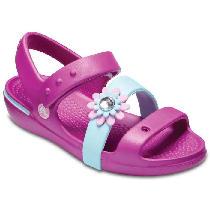 Crocs Girls' Keeley Petal Charm Sandal (children's) Vibrant Violet