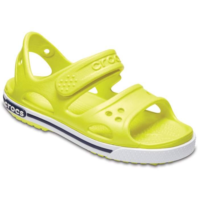 Crocs Kids' Crocband II Sandal Tennis Ball Green/White