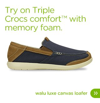 Try on Triple Crocs comfort™ with memory foam. Walu Luxe Canvas Loafer