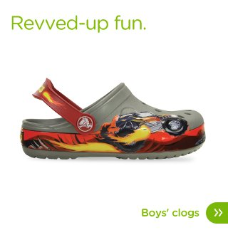Revved-up fun. Boys' clogs