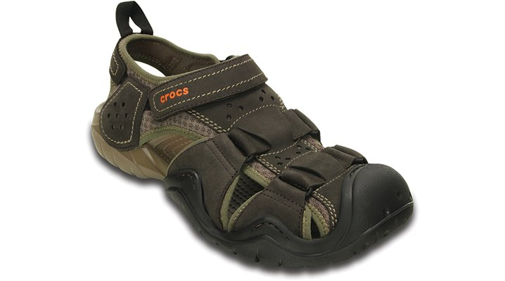 Crocs mens swiftwater leather fisherman sandal ebay for Crocs fishing shoes