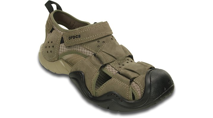 Crocs mens swiftwater leather fisherman sandal for Crocs fishing shoes