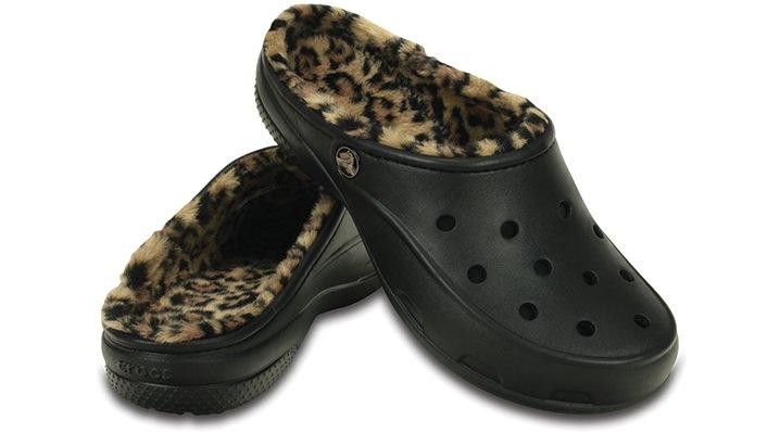 【クロックス公式】 クロックス フリーセイル レオパード ラインド Women's Crocs Freesail Leopard Fuzz Lined Clog ウィメンズ、レディース、女性用 ブラック/黒 22cm,23cm,25cm mule ヒール パンプ スミュール