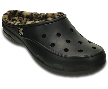 Crocs Freesail Leopard Fuzz Lined Womens Clog (Black / Gold)