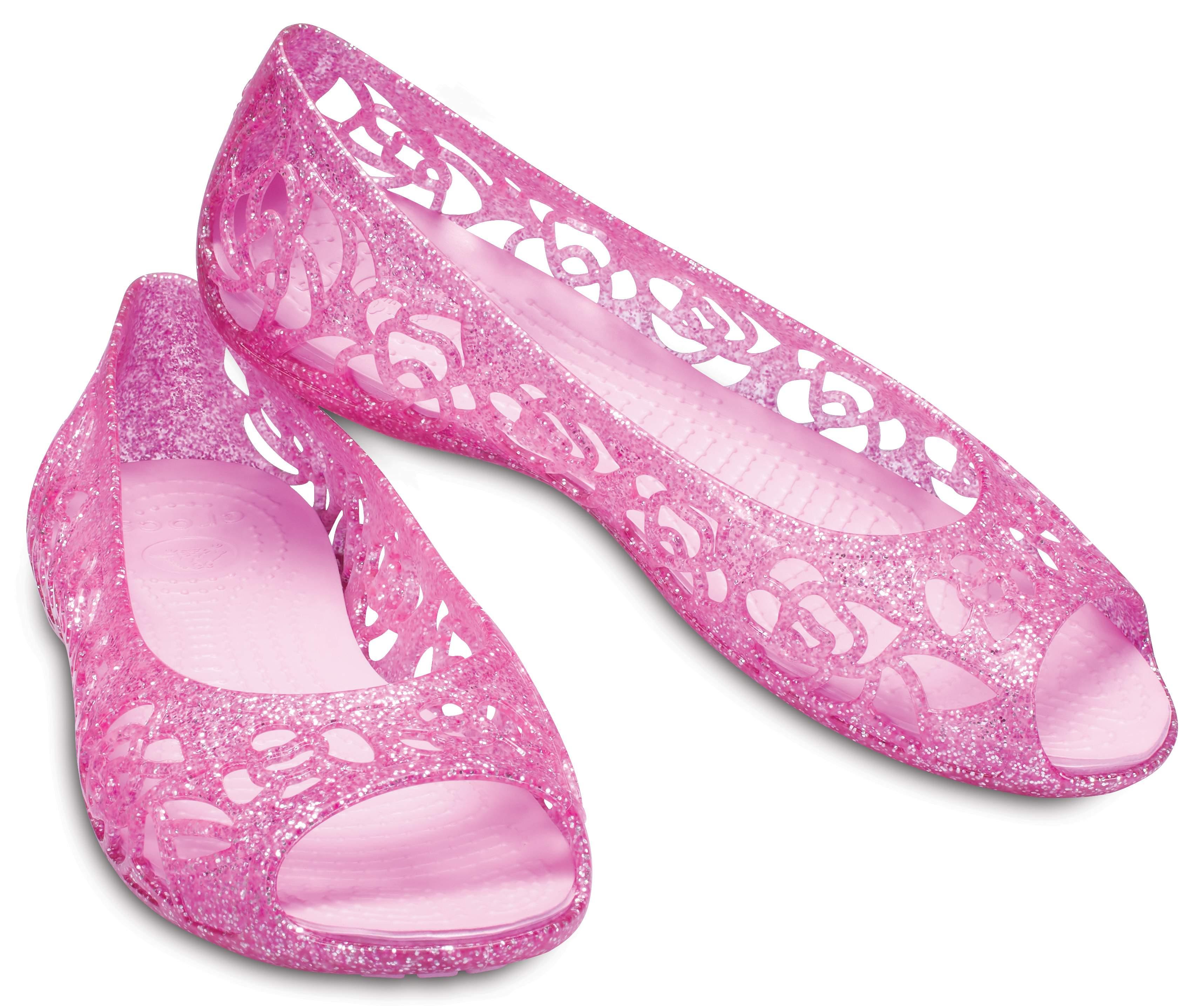 【クロックス公式】 クロックス イザベラ グリッター フラット GS Kids' Crocs Isabella Glitter Flat ガールズ、キッズ、子供用、女の子 ピンク/ピンク 24cm flat フラットシューズ バレエシューズ ぺたんこシューズ 10%OFF