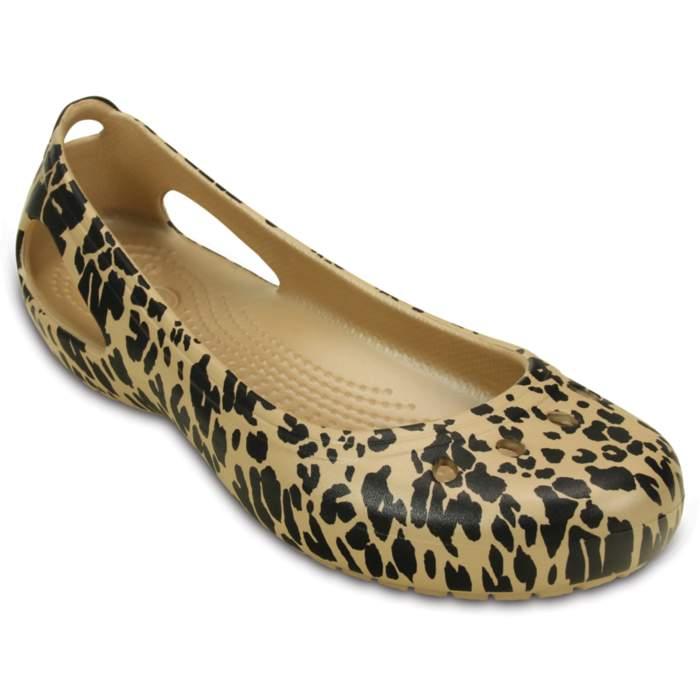 Crocs Women's Kadee Animal Print Flat Brown