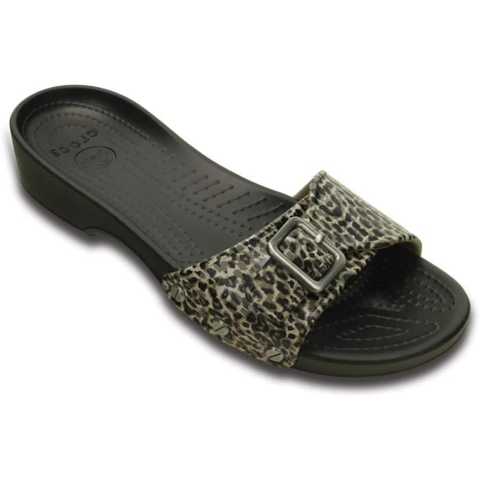 Crocs Women's Sarah Leopard Sandal Black