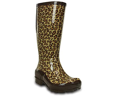 Women's Crocs Leopard Tall Rain Boot