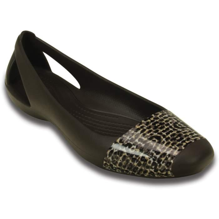 Crocs Women's Crocs Sienna Leopard Shiny Flat Brown
