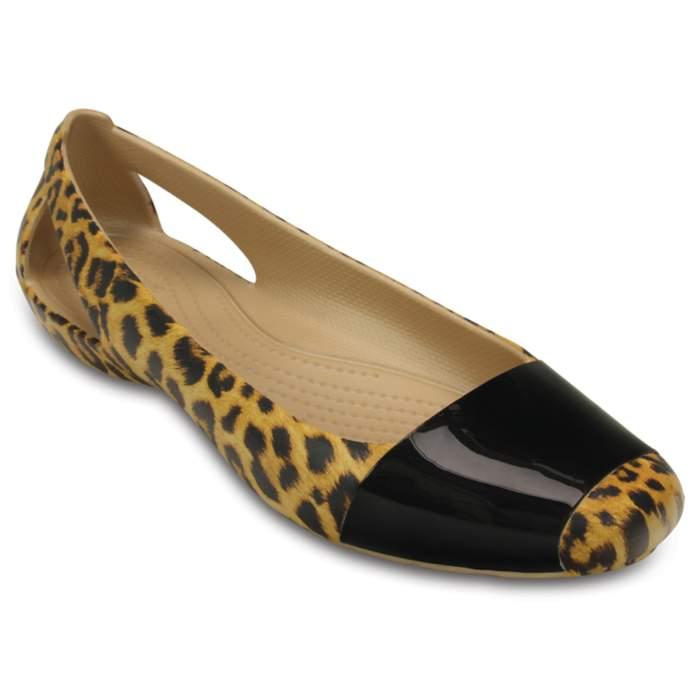 Crocs Women's Crocs Sienna Leopard Shiny Flat White