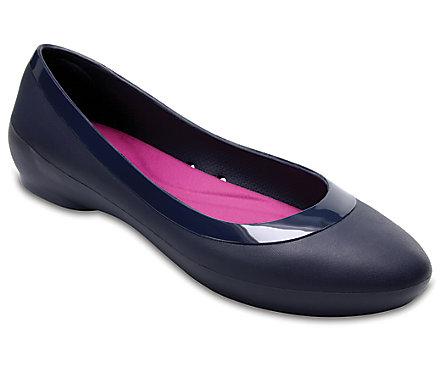 Crocs Women's Lina Luxe Ballet Flat (Navy / Black)