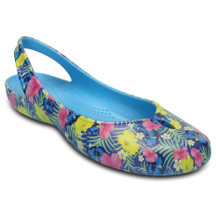 Crocs Women's Olivia II Graphic Flat Blue / Fluorescent