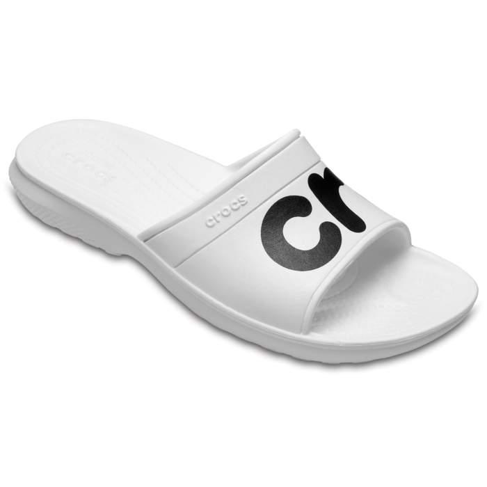Crocs Classic Graphic Slides White