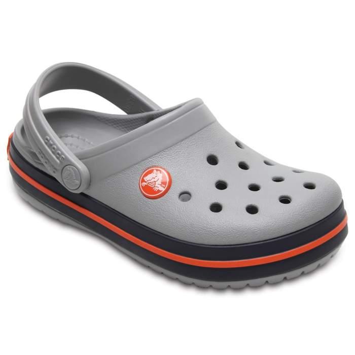 551d2c848b2613 Crocs Light Grey   Navy Kids  Crocband Clog