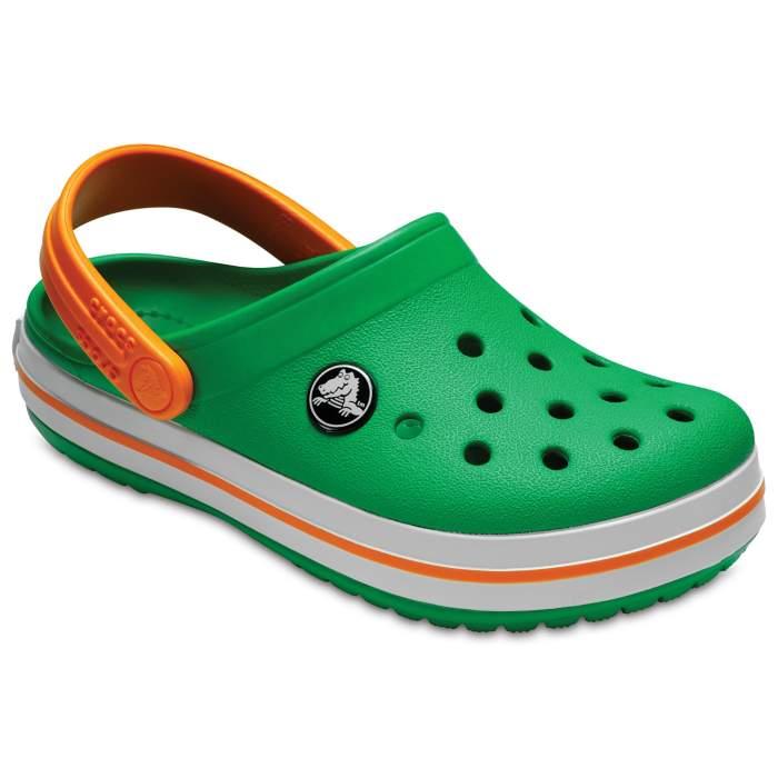 1e5a0e58d7a6 Crocs Kids  Crocband Clog Grass Green White Blazing Orange