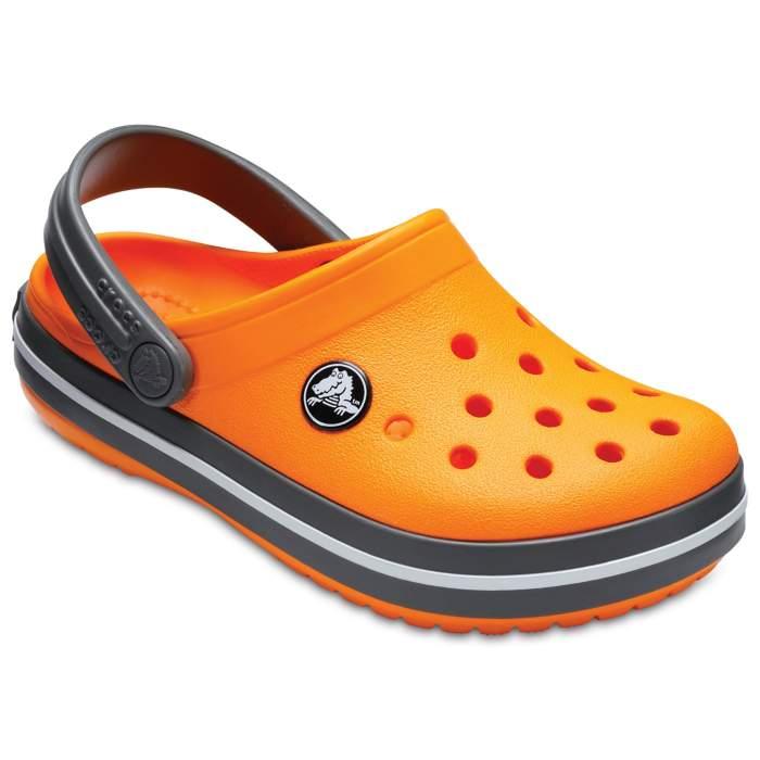 191b9a560b4781 Crocs Blazing Orange Slate Grey Kids  Crocband Clog