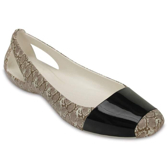 Crocs Women's Crocs Sienna Shiny Animal Print Flat Brown