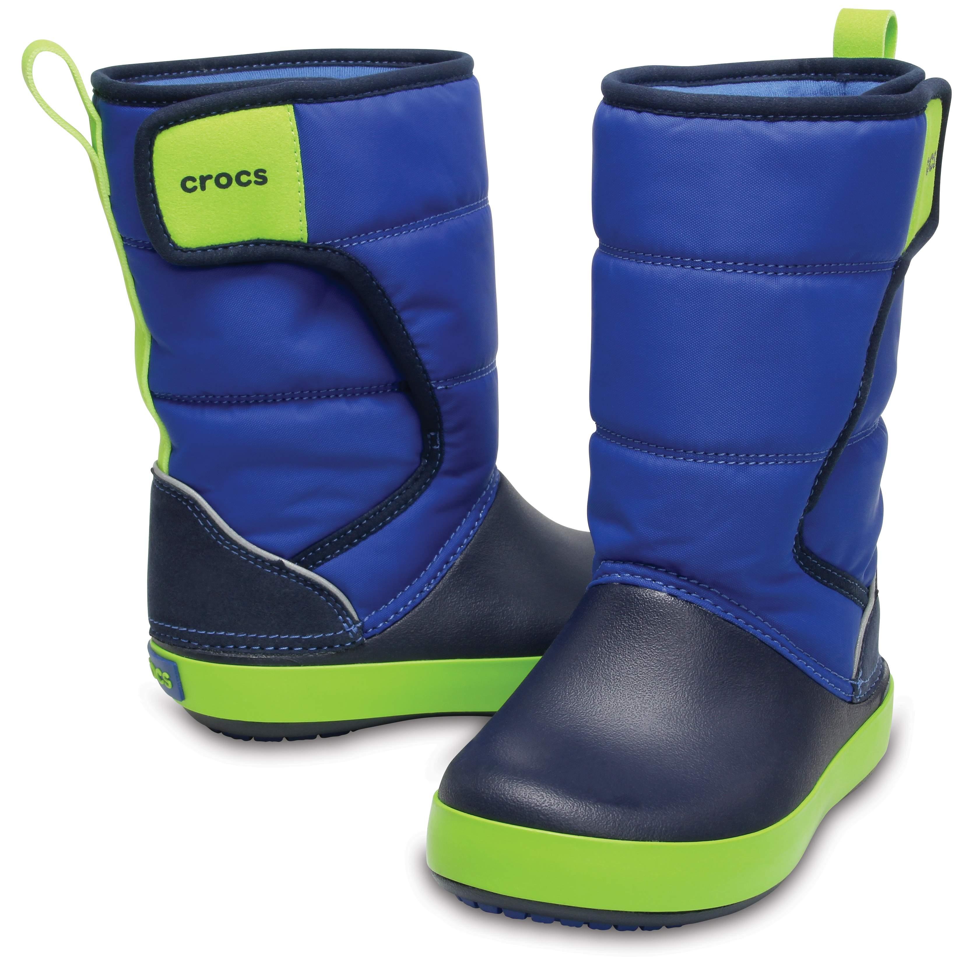 【クロックス公式】 ロッジポイント スノー ブーツ キッズ Kids' LodgePoint Snow Boot ユニセックス、キッズ、子供用、男の子、女の子、男女兼用 ブルー/青 15cm,15.5cm,16.5cm,17.5cm,18cm,18.5cm,19cm,19.5cm,20cm,21cm boot ブーツ 30%OFF