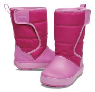 【クロックス公式】 ロッジポイント スノー ブーツ キッズ Kids' LodgePoint Snow Boot ユニセックス、キッズ、子供用、男の子、女の子、男女兼用 ピンク/ピンク 15cm,16.5cm,18.5cm,19.5cm,20cm boot ブーツ
