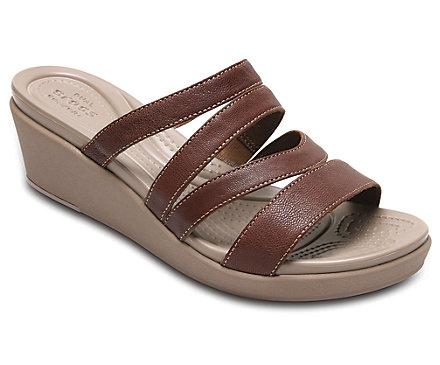 Women's Crocs Leigh-Ann Leather Mini Wedge