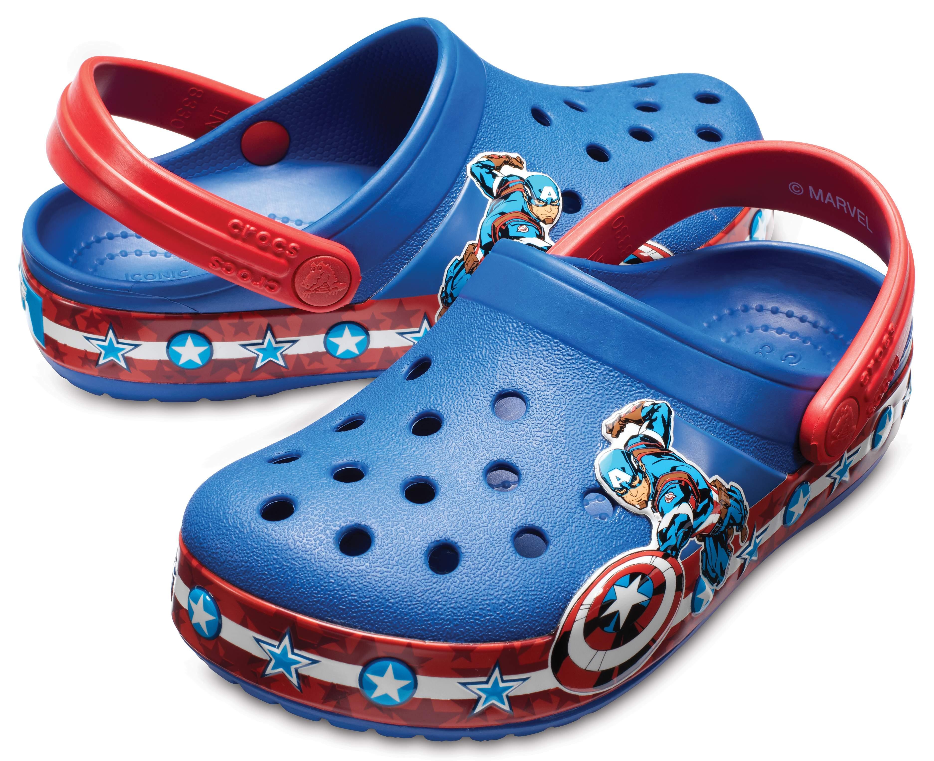 Crocs Kids' Crocband Fun Lab Captain America Clogs Blue Jean 205019-4GX