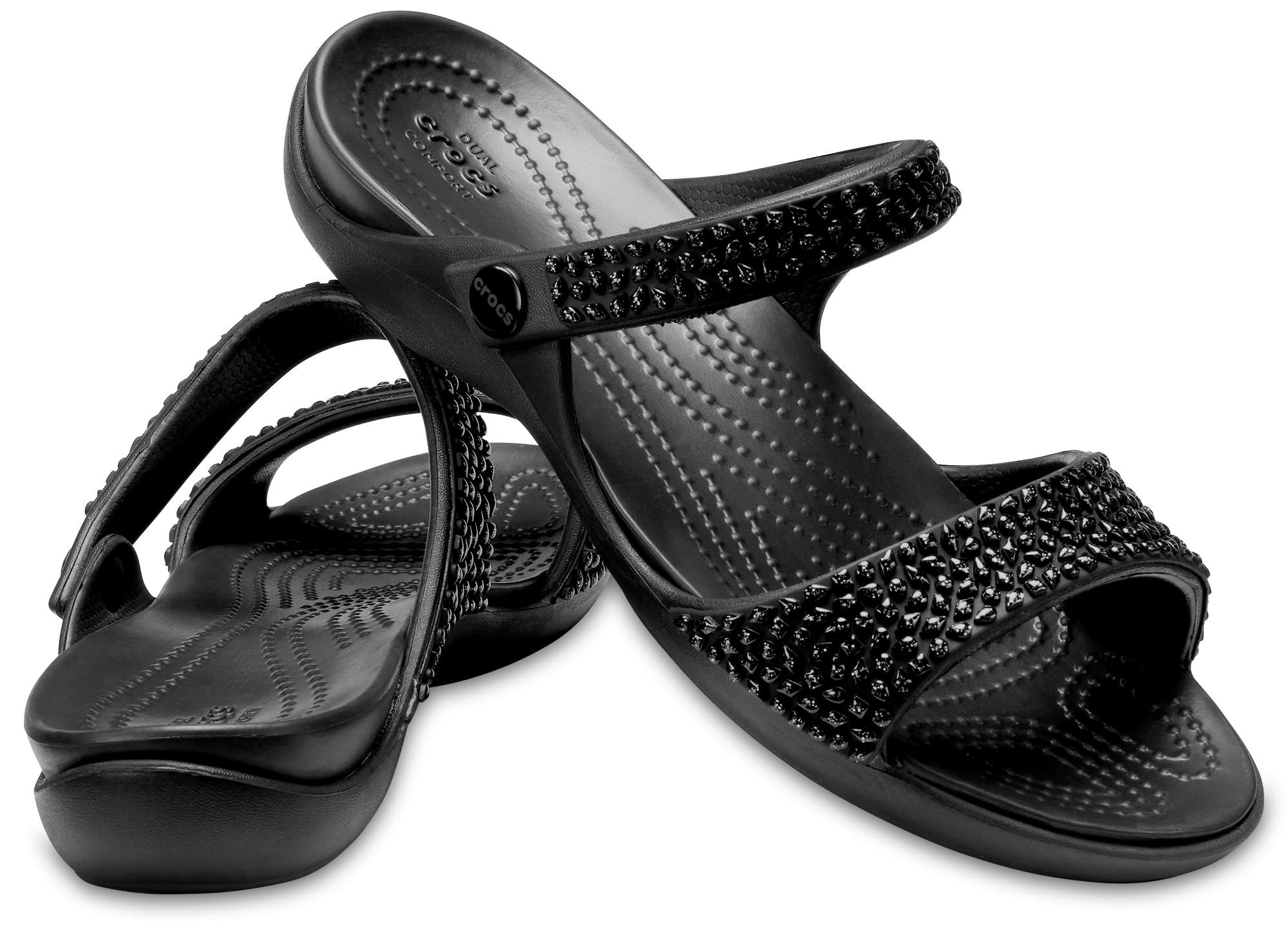Crocs Women's Cleo V Diamante Sandals Black 205102-060