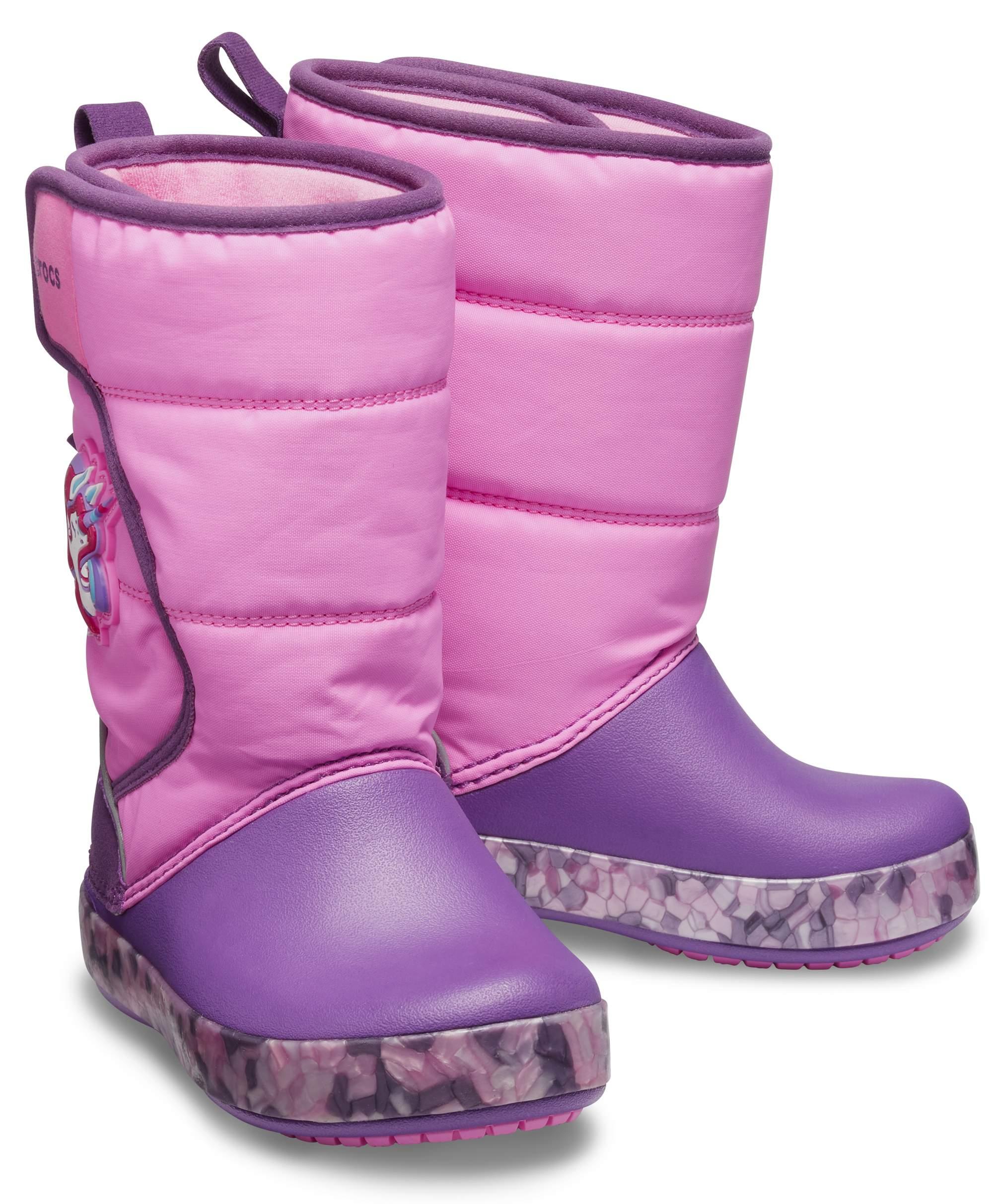 【クロックス公式】 クロックス ファン ラブ ユニコーン ライツ ブーツ キッズ Kids' Crocs Fun Lab Unicorn Lights Boot ユニセックス、キッズ、子供用、男の子、女の子、男女兼用 ピンク/ピンク 14cm,15cm,15.5cm,16.5cm,17.5cm,18cm,18.5cm,19cm,19.5cm,20cm,21cm boot ブーツ