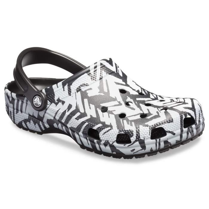 28d5bdb00e6806 Crocs Light Grey   Black Classic Graphic Ii Clog