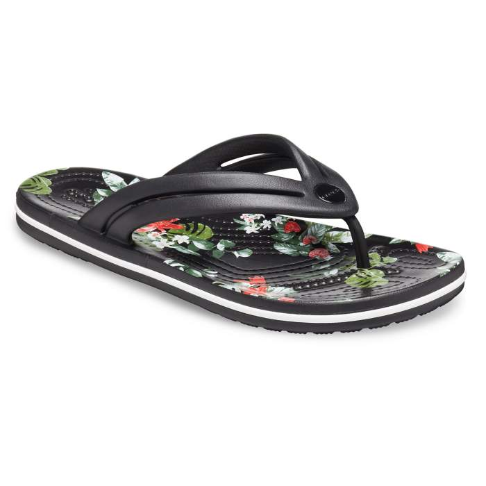 Crocs Crocband™ Botanical Print Flips Damen Black/Tropical 41
