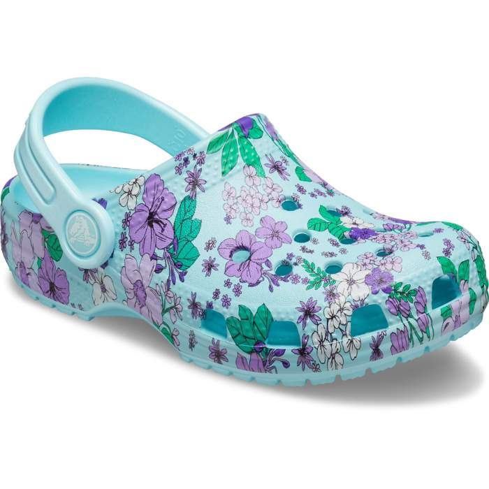 Crocs Preschool Classic Floral Clogs Kinder Ice Blue 27