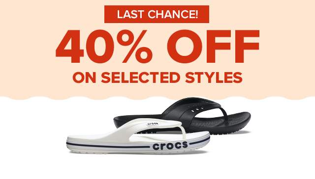 40% OFF ON SELECTED STYLES