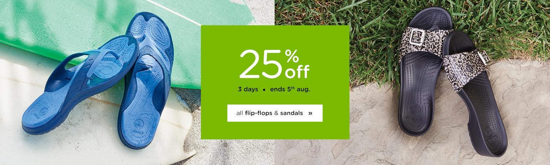 Save 25% off all flip-flops & sandals for 3 days only at Crocs Australia.