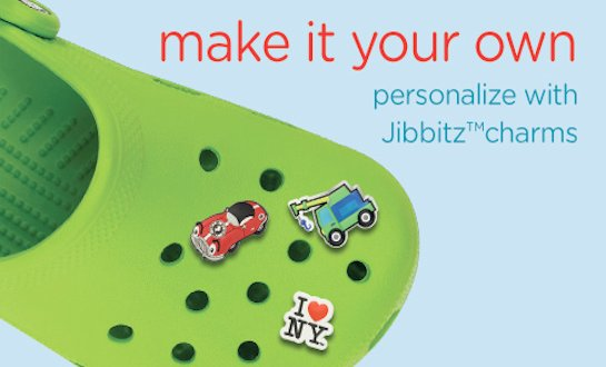 Make it your own. Personalize with Jibbitz™ charms.