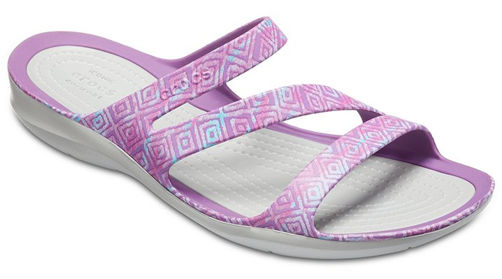 Crocs Amethyst Diamond/Light Grey Women's Swiftwater Graphic Sandal Shoes