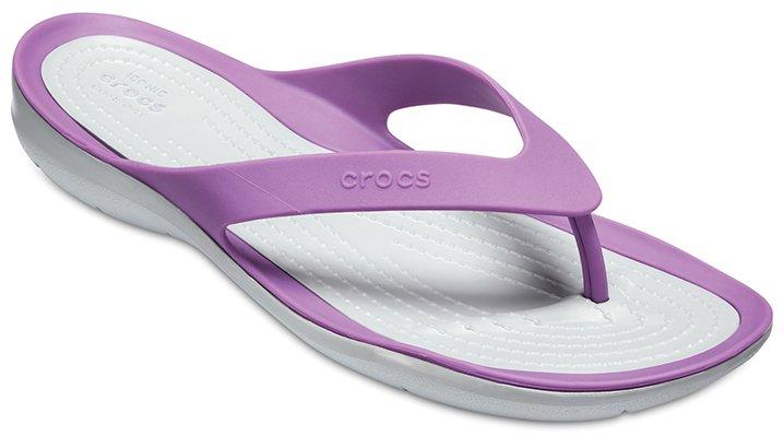 Crocs Amethyst/Light Grey Women's Swiftwater Flips Shoes