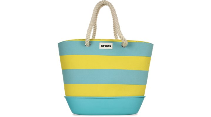 Crocs Aqua / Yellow Canvas Striped Beach Tote Shoes