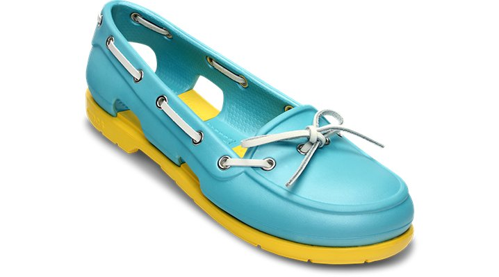 Crocs Aqua / Yellow Women's Beach Line Boat Shoe Shoes