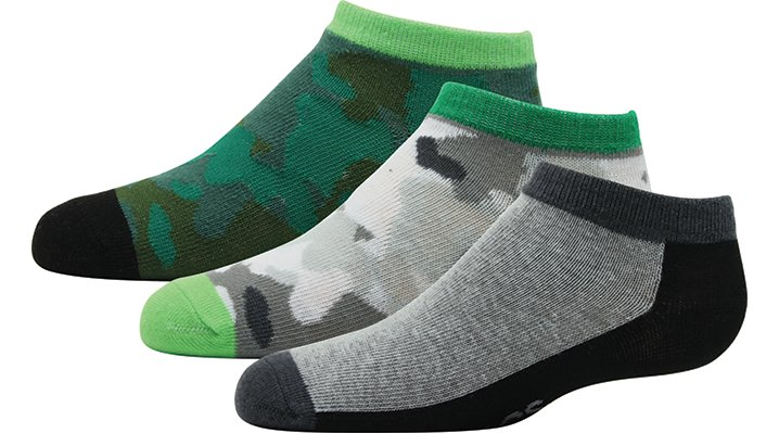 Crocs Army Green / Camo Kids' Low-Cut Novelty Socks 3-Pack Shoes