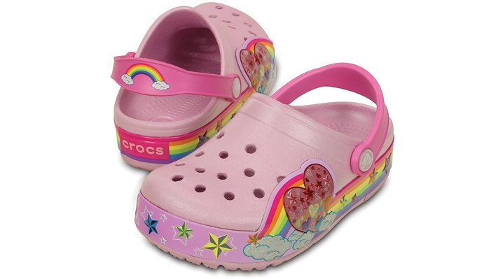 Crocs Ballerina Pink Kids' Crocslights Rainbow Heart Clog Shoes