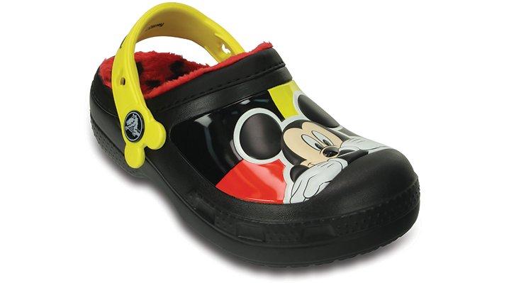Crocs Black Creative Crocs Mickey™ Fuzz Lined Clog Shoes