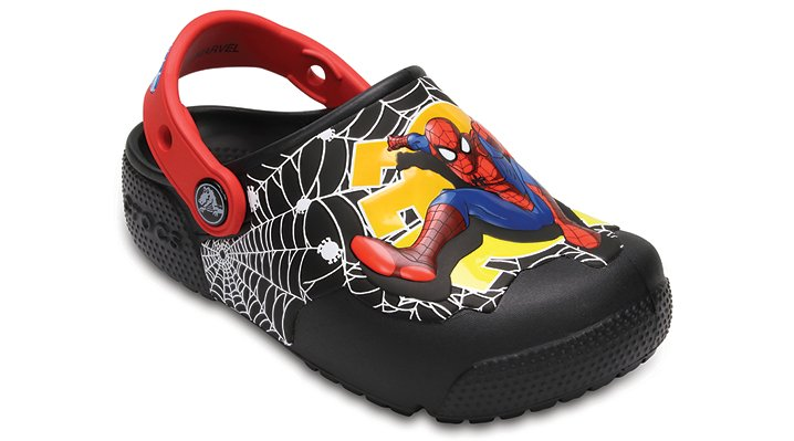 Crocs Black Kids' Crocs Fun Lab Lights Spider-Man™ Clogs Shoes