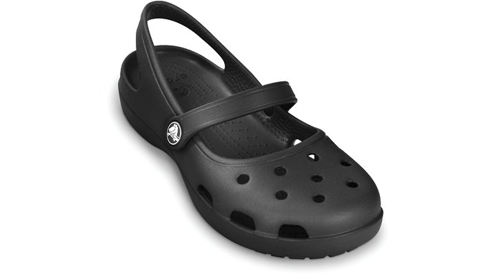 Crocs Black Shayna Womens A fresh take on a Crocs favorite, the Shayna takes all you love about our popular Mary Jane clog�comfort, sporty looks, durability�and adds a slingback for an extra snug, extra stable fit.  Crocs trade  Shayna Details:    Mary Jane style with classic Crocs comfort.  Croslite trade  material slingback heel strap for a secure fit.  Odor-resistant, easy to clean, and quick to dry.  Ventilation holes add breathability and accommodate Jibbitz trade  charms.  Water-friendly and buoyant  weighs only ounces.  Lightweight, non-marking soles.  Massaging nubs on the footbed to stimulate circulation.  Fully-molded Croslite trade  material for lightweight cushioning and comfort.