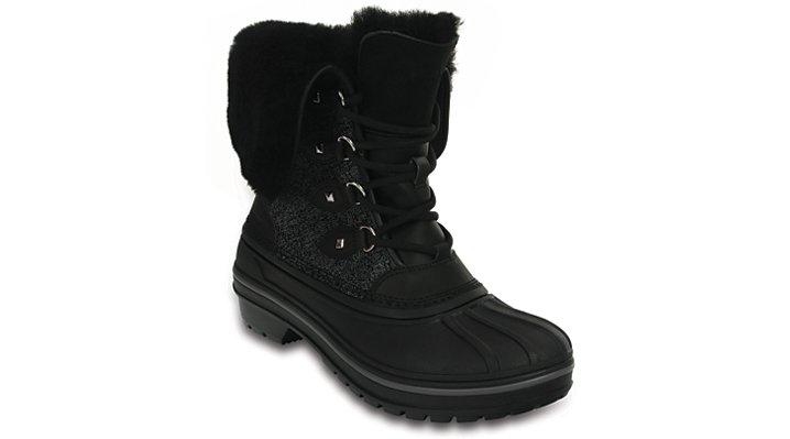 Crocs Black Shimmer Women's Allcast Ii Luxe Shearling Boot Shoes