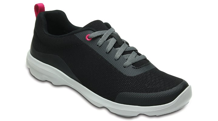 Crocs Black Women's Busy Day Stretch Mesh Lace-Up Shoes