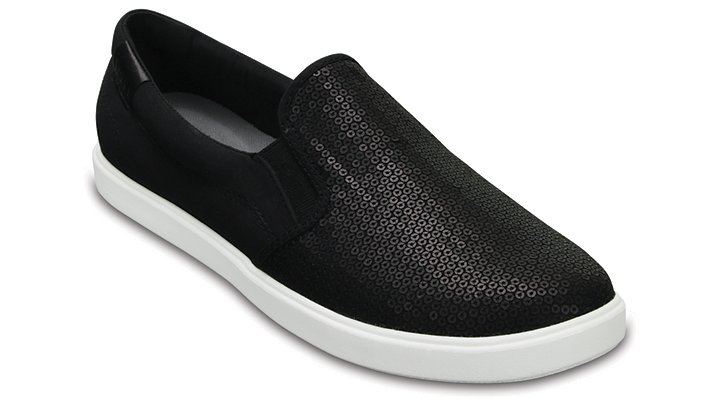 Crocs Black Women's Citilane Sequin Slip-Ons Shoes