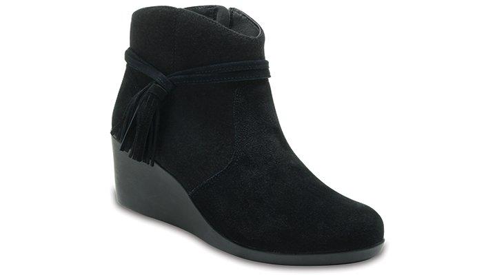 Crocs Black Women's Crocs Leigh Suede Mix Bootie Shoes