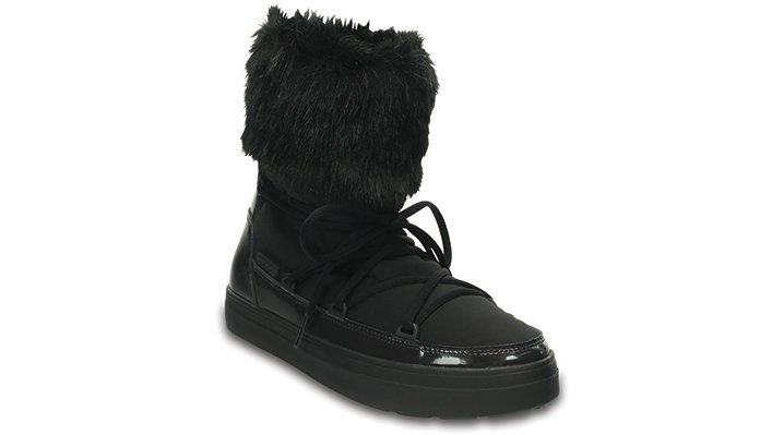 Crocs Black Women's Lodgepoint Lace Boot Shoes
