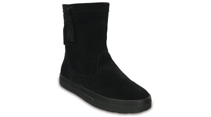 Crocs Black Women's Lodgepoint Suede Pull-On Boot Shoes