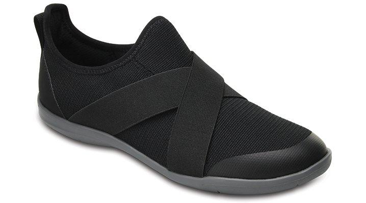 Crocs Black Women's Swiftwater Cross-Strap Static Shoes